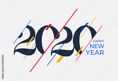 Fototapeta 2020 Happy new year design template. Logo Design for calendar, greeting cards or print. Vector illustration. Isolated on white background. obraz