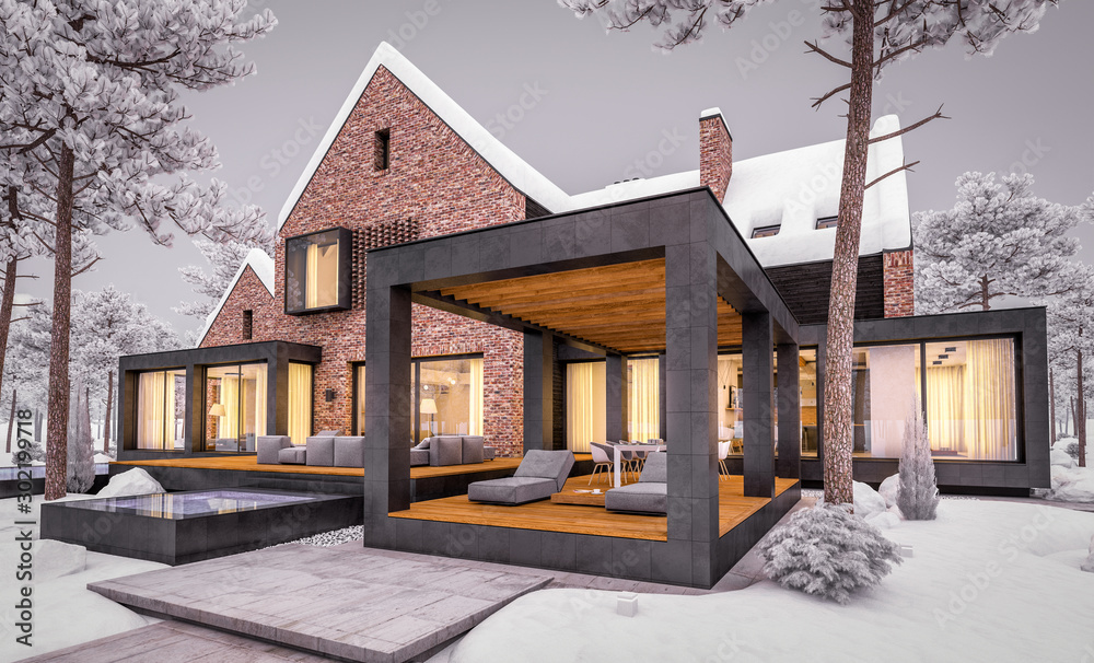 Fototapeta 3d rendering of modern cozy clinker house on the ponds with garage and pool for sale or rent with beautiful landscaping on background. Cool winter evening with warm cozy light inside.