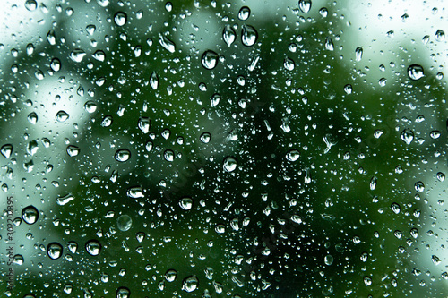 Obraz Water droplets and the color of raindrops in the rainy season - fototapety do salonu