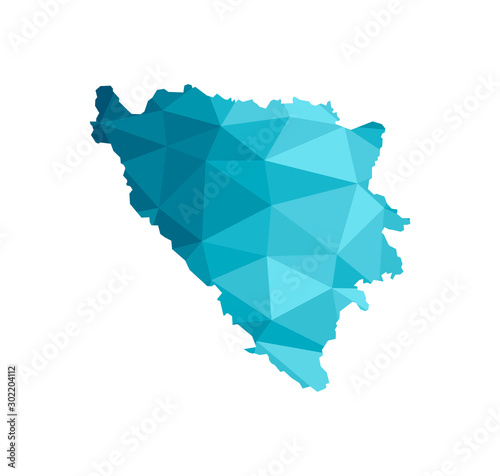 Photo Vector isolated illustration icon with simplified blue silhouette of Bosnia and Herzegovina map