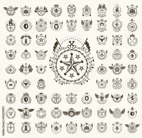 Obraz Classic style emblems big set, ancient heraldic symbols awards and labels collection, classical heraldry design elements, family or business emblems. - fototapety do salonu