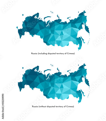 Stampa su Tela  Vector isolated illustration icon with simplified blue silhouettes of Russia (including disputed territory of Crimea and without it) maps