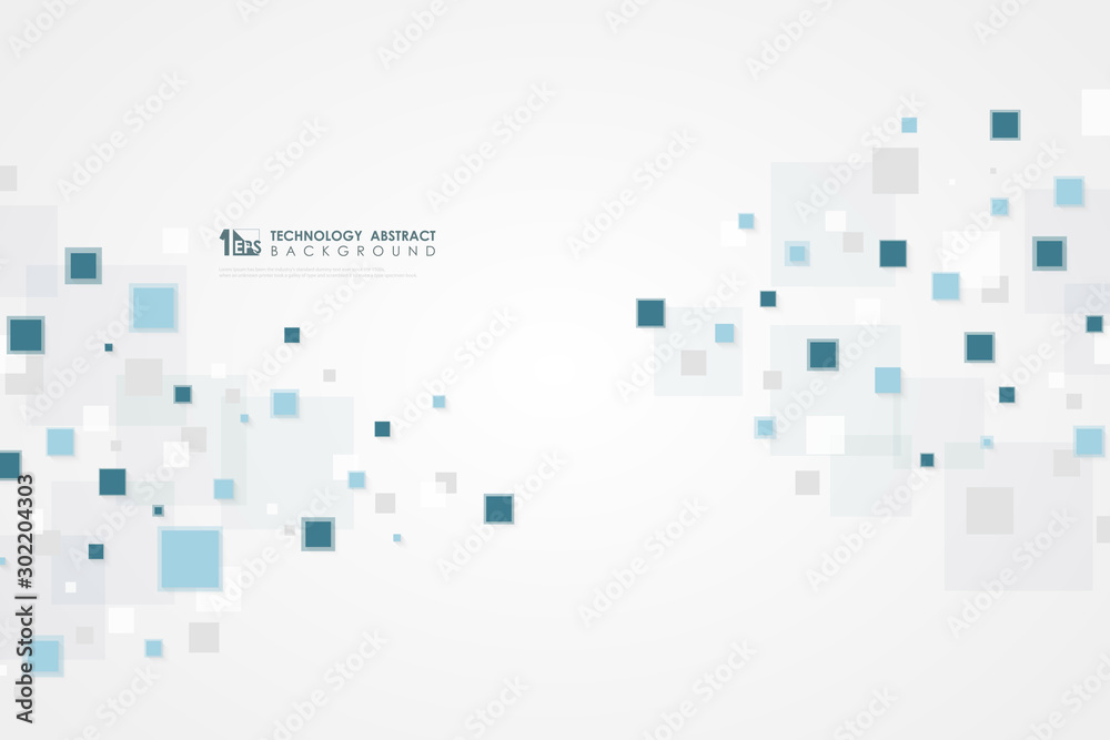 Abstract blue square technology of futuristic pattern design background. illustration vector eps10