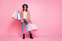 Milan I Love You. Full Length Photo Of Pretty Model Lady Carry Many Packs Enjoy Abroad Sales Shopping Wear Fluffy Jacket Jeans Sun Specs Hat Shoes Isolated Pink Background
