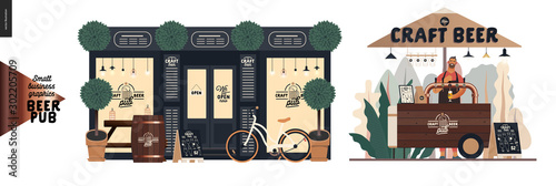 Fotografia Brewery, craft beer pub -small business graphics -a bar facade and vending cart-modern flat vector concept illustrations -a pub front, shocase, bicycle