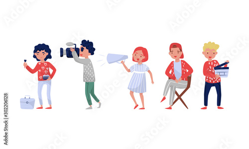 Obraz na plátne  Filmmakers Behind Their Routine Activities Vector Illustration Set Isolated On W