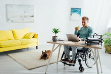 Disabled Man With Laptop And C...