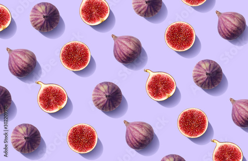 Colorful fruit pattern of fresh figs - 302209918