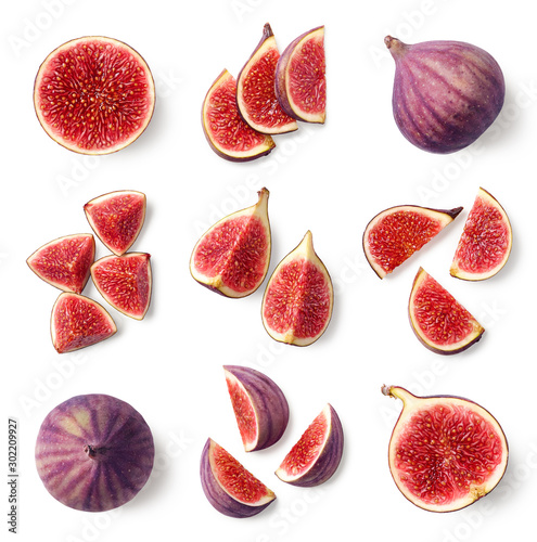 Fotografía  Set of fresh whole and sliced figs