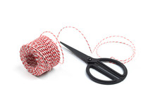 Red And White Bakers Twine Rope Spool And Scissors Isolated On White Background. Packaging Equipment Or Handicraft Tool Concept. - Image