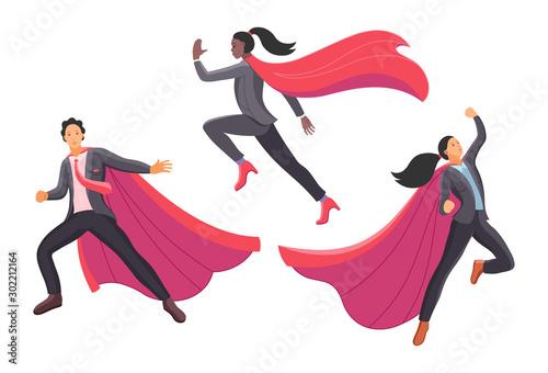 Set businessman and superwoman superhero actions running flight takeoff Canvas Print