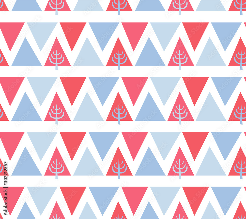 Seamless Pattern spruce and mountains. Scandinavian, Nordic style with red and blue triangles and Christmas tree.  Vector ornament  for design, fabric, textile, wrapping paper, wallpaper