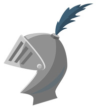 Vintage Mask Of Knight Vector, Isolated Ancient Soldier, Swordsman Head. Metallic Material And Feathers Decoration On Surface Warrior Steel Item Illustration In Flat Style Design For Web, Print