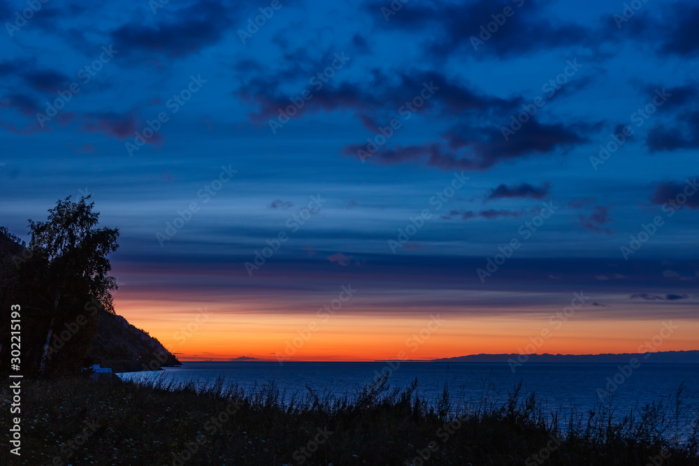 Fototapety, obrazy: Before sunrise at Baikal lake with colorful sky