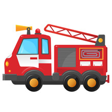 Color Image Of Fire Truck On A...