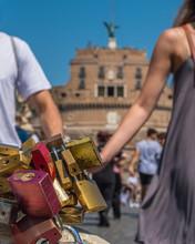 Set Of Padlocks Symbolizing Eternal Love On The Sant'Angelo Bridge In Rome