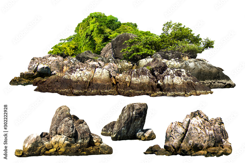 Fototapeta The trees. Mountain on the island and rocks.Isolated on White background