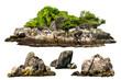 Leinwandbild Motiv The trees. Mountain on the island and rocks.Isolated on White background