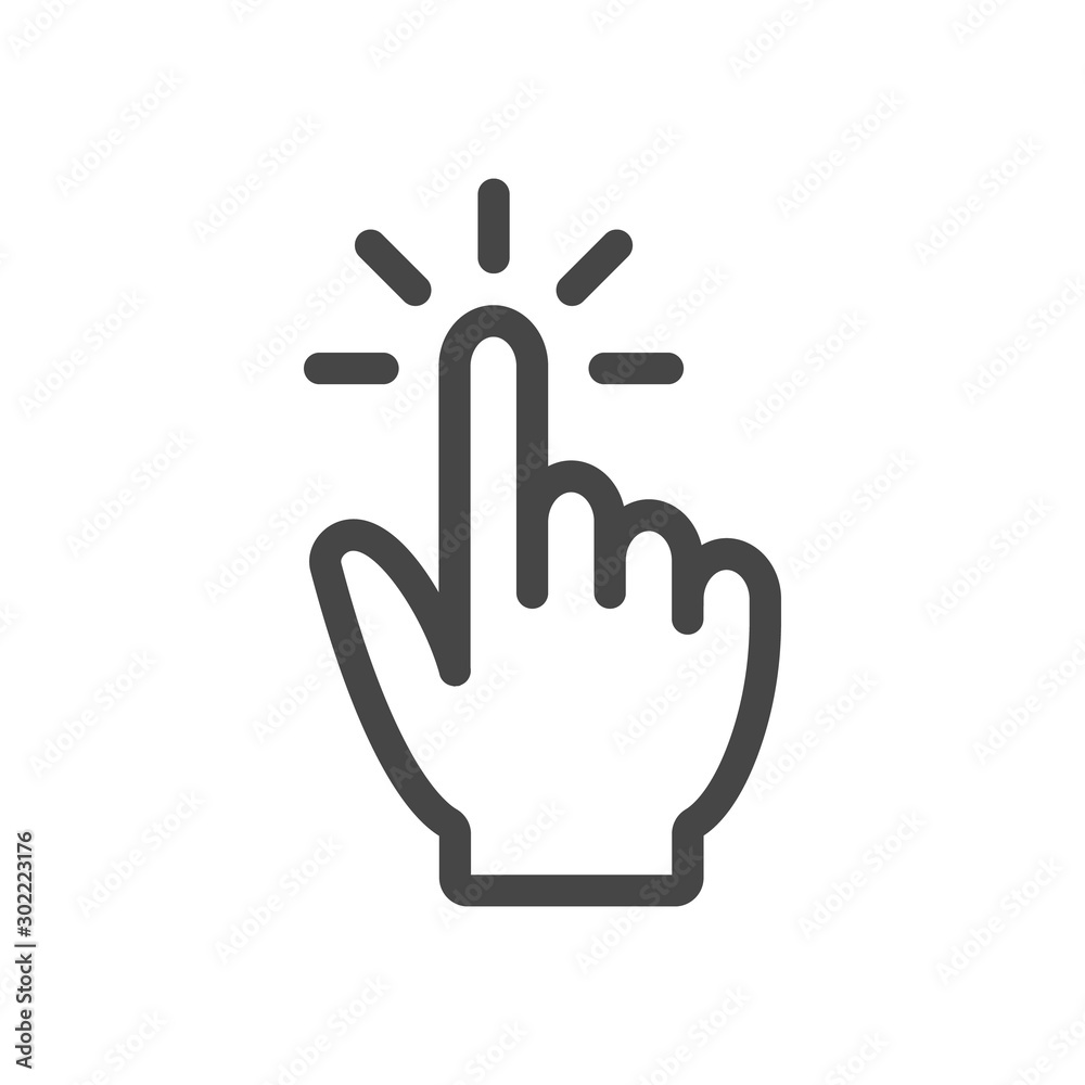 Fototapety, obrazy: Touch outline vector illustration icon isolated on white background.