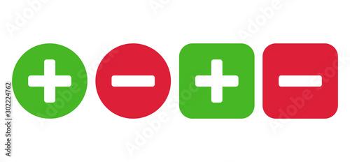 Cuadros en Lienzo Plus and minus icon set. Vector illustration