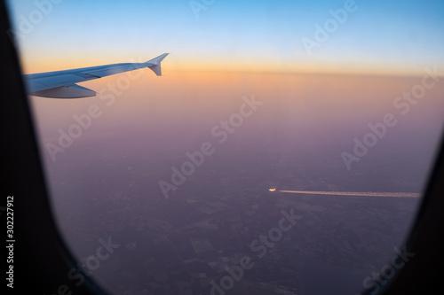 Sonnenuntergang aus dem Flugzeug Wallpaper Mural
