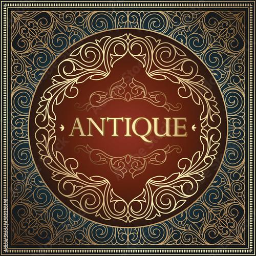 Obraz Golden ornate art deco vintage emblem - fototapety do salonu
