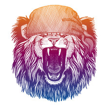 Lion. Wild Pirate Or Biker. Vector Animal Portrait. Sailor, Motorcyclist. Print For Children Clothing, Tee. Kids Fashion.