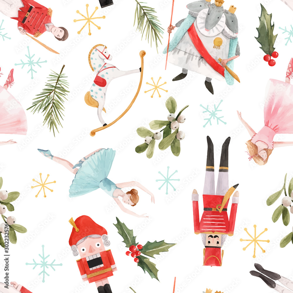 Fototapety, obrazy: Watercolor vector christmas winter nutcracker fairy tale ballet seamless pattern