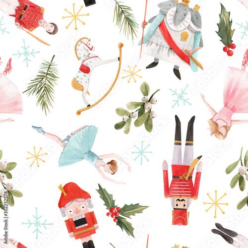 Cuadros en Lienzo  Watercolor vector christmas winter nutcracker fairy tale ballet seamless pattern