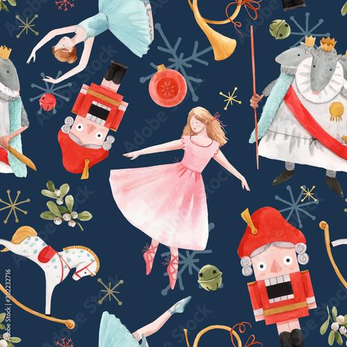 Tapety do pokoju dziewczynki  watercolor-vector-christmas-winter-nutcracker-fairy-tale-ballet-seamless-pattern