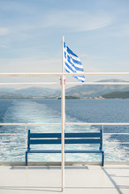 Greek Flag On Ferry Boat