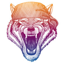 Wolf. Wild Pirate Or Biker. Vector Animal Portrait. Sailor, Motorcyclist. Print For Children Clothing, Tee. Kids Fashion.