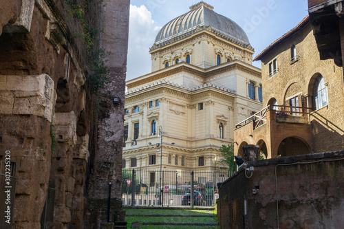 View of the Great Synagogue among Roman ruins and medieval buildings in Rome, It Wallpaper Mural