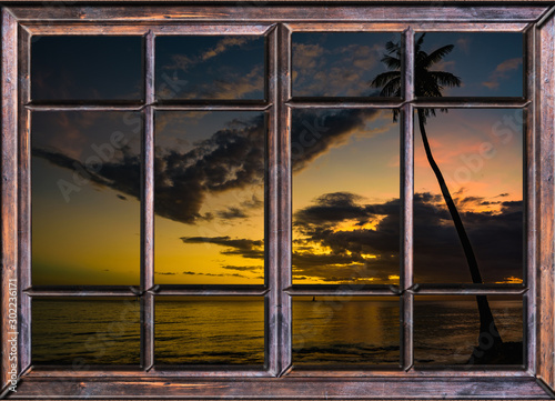 Fototapeta view from the open window of the caribbean sunset