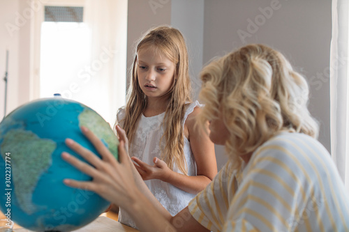 A Child Learing Geography Canvas Print