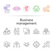 Business management line icon set