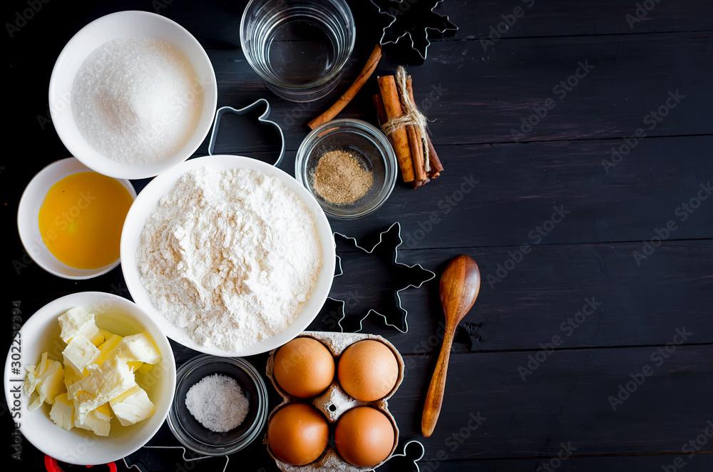 Fototapeta ingredients for baking gingerbread or cake - obraz na płótnie