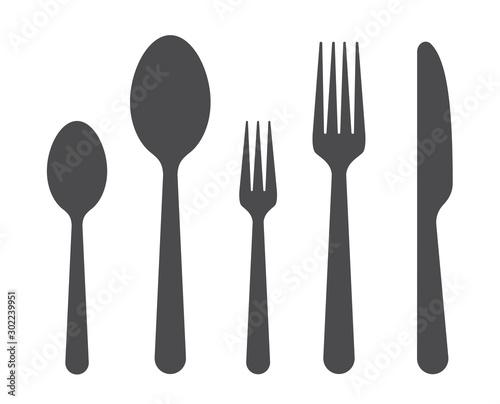 Fotografia Set of fork spoon and knife graphic symbols