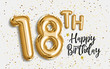 canvas print picture - Happy 18th birthday gold foil balloon greeting background. 18 years anniversary logo template- 18th celebrating with confetti. Photo stock.