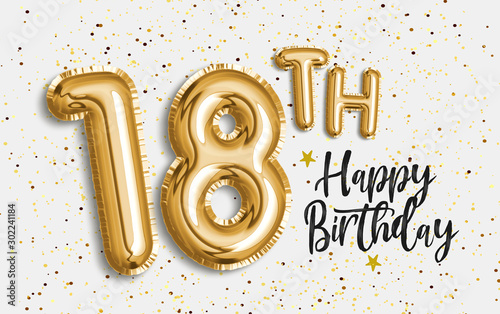 Photo Happy 18th birthday gold foil balloon greeting background