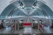 futuristischer Metro Zugang  in St. Petersburg auf die Wassiljewski - Insel