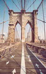 Brooklyn Bridge in the morning, color toning applied, New York City, USA.