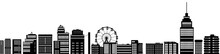 Cityscape Street Panorama View Silhouette Town In Black Contour Color Isolated On White , Ferris Wheel Skyscraper Buildings Houses , Vector Horizontal Bottom Banner