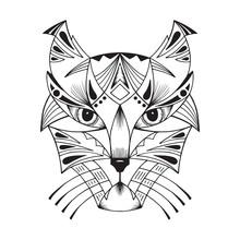 Ethnic Animal. Tribal Patterned Wild Cat. Cat Head. Caracal. Lynx. Hand Drawn Vector Illustration