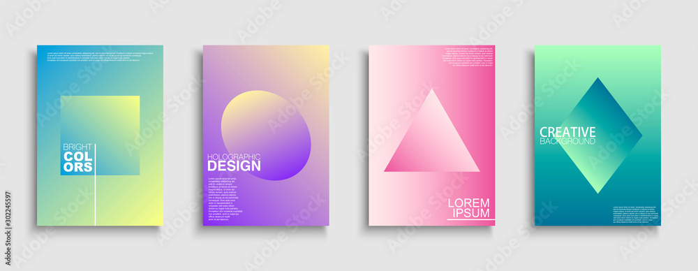 Fototapeta Trendy colorful minimalistic covers, templates, posters, placards, brochures, banners, flyers and etc. Abstract holographic gradient backgrounds with simple geometric shapes