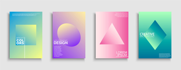 Trendy colorful minimalistic covers, templates, posters, placards, brochures, banners, flyers and etc. Abstract holographic gradient backgrounds with simple geometric shapes