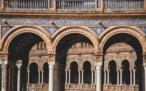 Canvastavla Details of Plaza de Espana, Siviglia, Spain