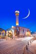 Leinwanddruck Bild - Tahtani mosque at twilight blue hour on the backgroun crescent moon  - Gaziantep Turkey