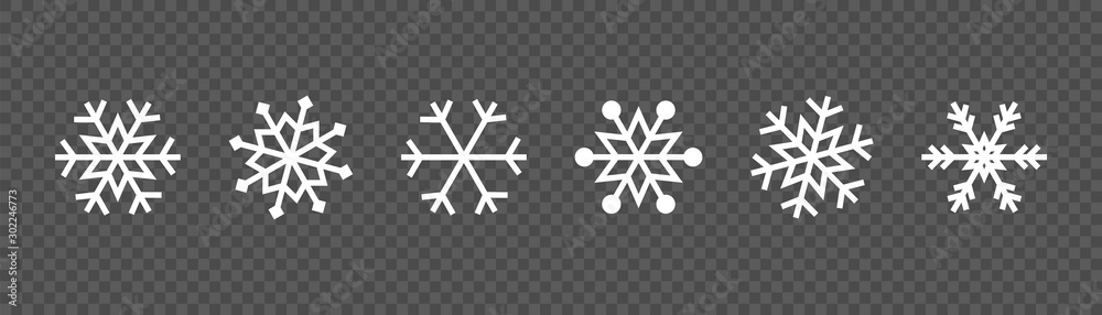 Fototapeta Snowflake set on isolated background. Winter pattern snow ornament vector design. Frost background. Christmas icon. Vector illustration