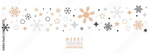 Fototapeta Christmas card with snowflake border vector. Xmas snow flake pattern. Festive christmas card. Isolated illustration white background. obraz